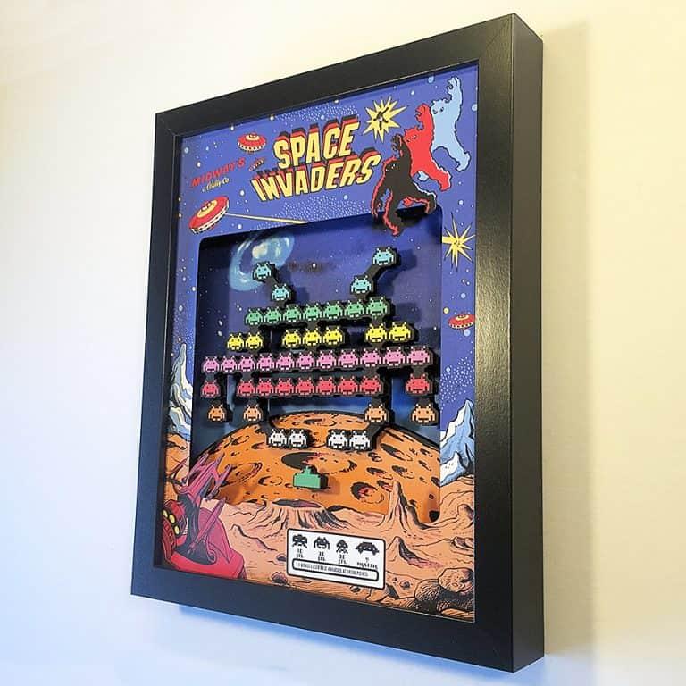 glitch-artwork-space-invaders-arcade-3d-shadow-box-solid-mdf-frame