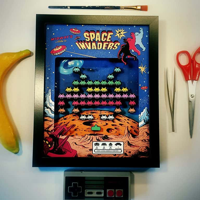 glitch-artwork-space-invaders-arcade-3d-shadow-box-wall-decoration
