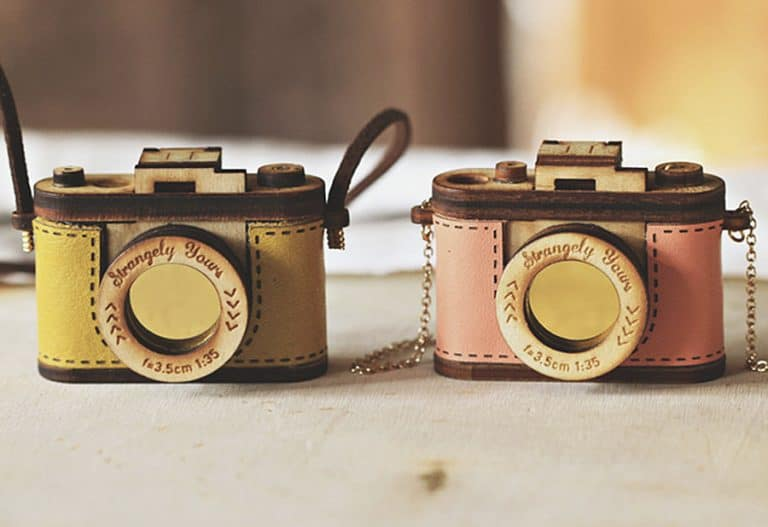 Strangely Yours Wood and Leather Camera Locket Accessories