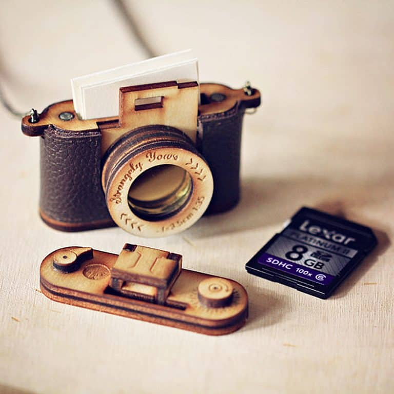 Strangely Yours Wood and Leather Camera Locket Extra Storage