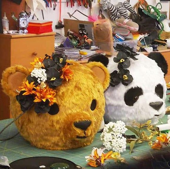 tentacle-studio-panda-teddy-bear-masks-silk-flowers