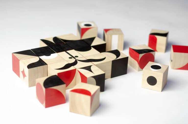 Miller Goodman FaceMaker Wooden Toy Blocks Baby Shower Gift Idea