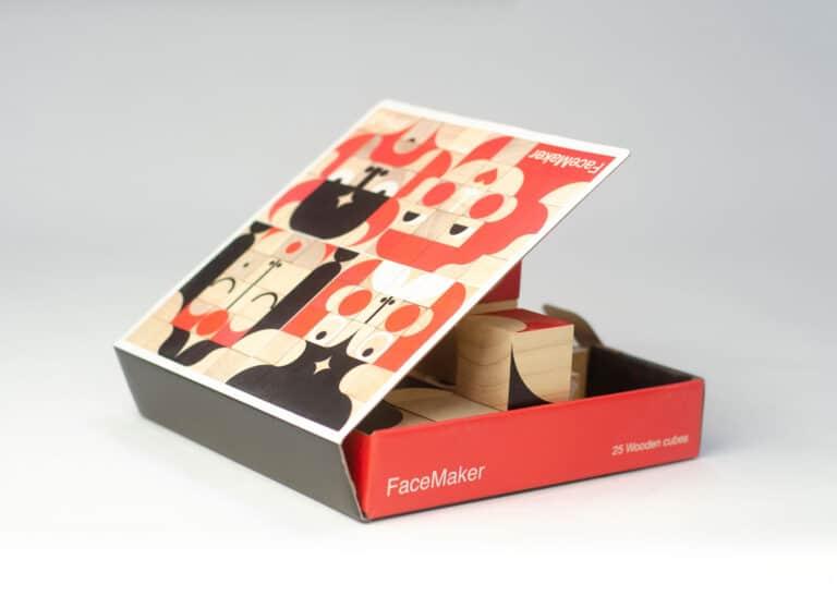 Miller Goodman FaceMaker Wooden Toy Blocks Wood Cubes