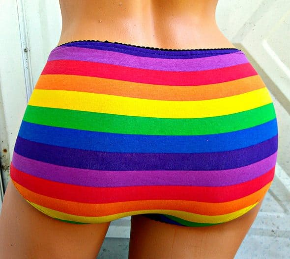 The Geek Garden Rainbow Flag Stripe Ladies Panties Handmade Item 590x528 - A Gentleman's Guide to Gifting