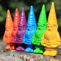 A rainbow of gnomes.