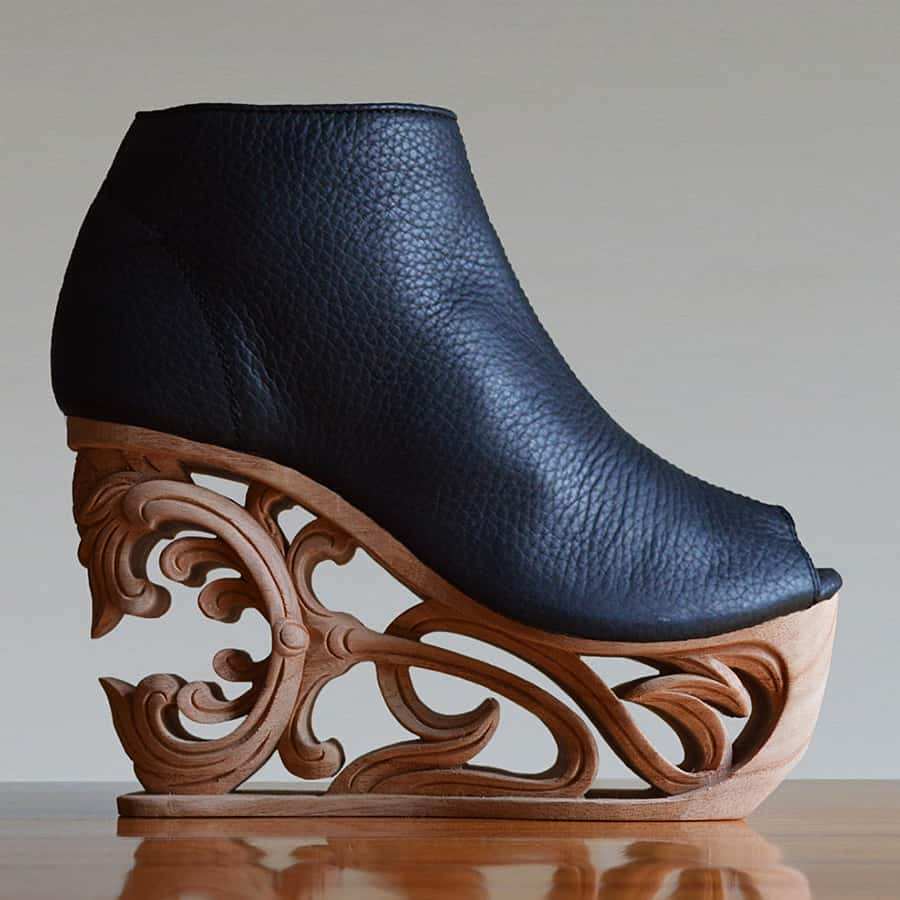 Fashion 4 Freedom Tiger Lily 2 Hand Carved Wood Wedge Shoes