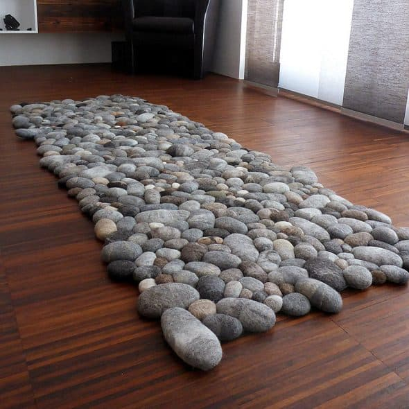 Fluss Design Felt Stone Carpet Hand Felted