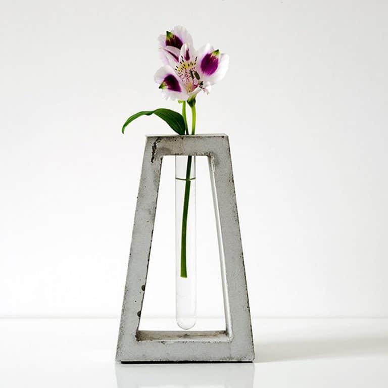 Kuco Design Minimalistic Test Tube Concrete Vase Made of Glass
