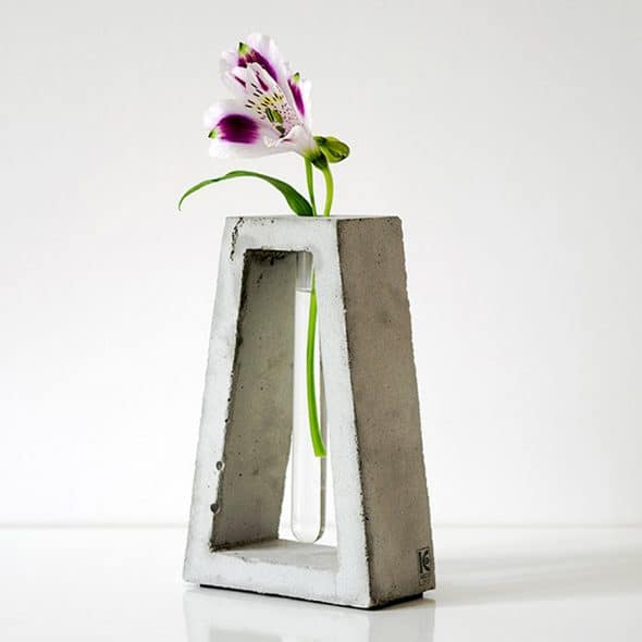 Kuco Design Minimalistic Test Tube Concrete Vase Tabletop Display