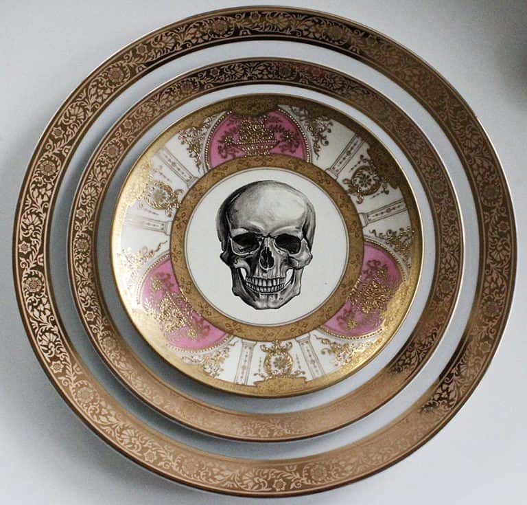 Angioletti Designs Pink & Gold Skull Plate Set Collectible Items