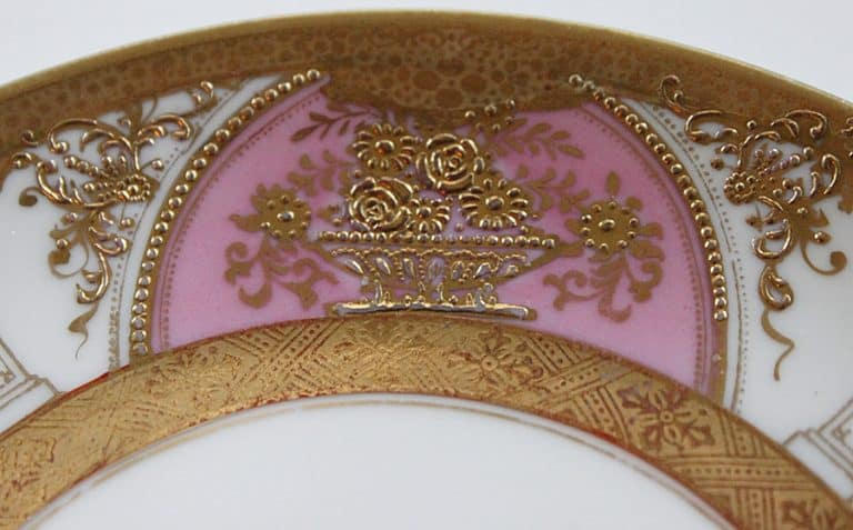 Angioletti Designs Pink & Gold Skull Plate Set Gold