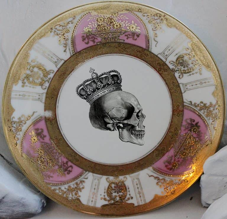 Angioletti Designs Pink & Gold Skull Plate Set Porcelain