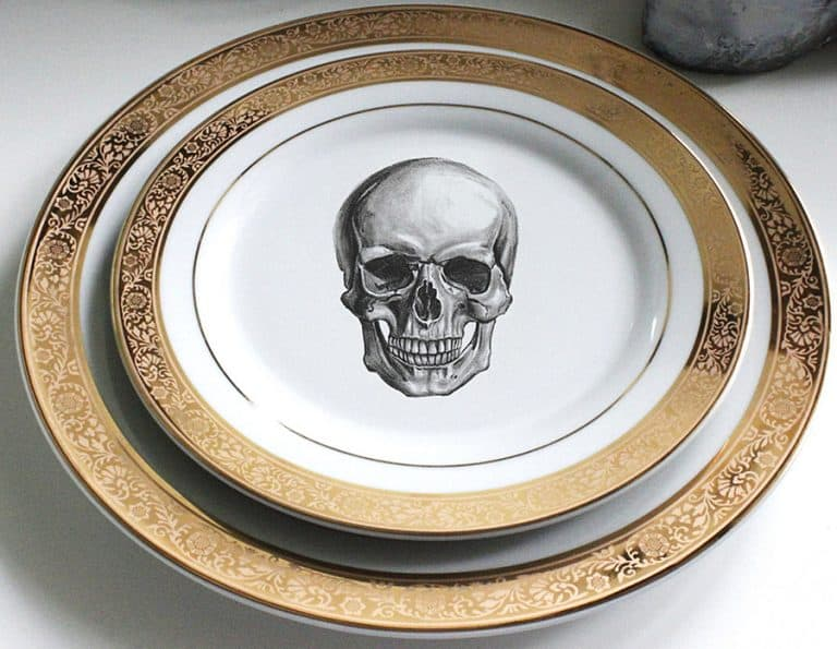 Angioletti Designs Pink & Gold Skull Plate Set Tableware