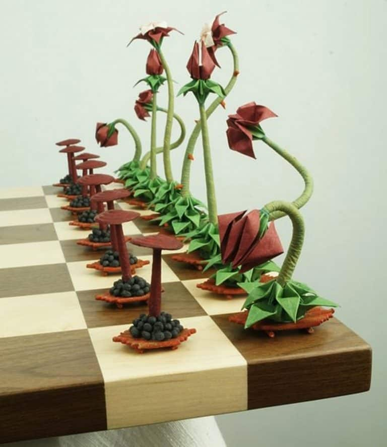 Benagami Origami Bonsai Chess Set Hand Painted