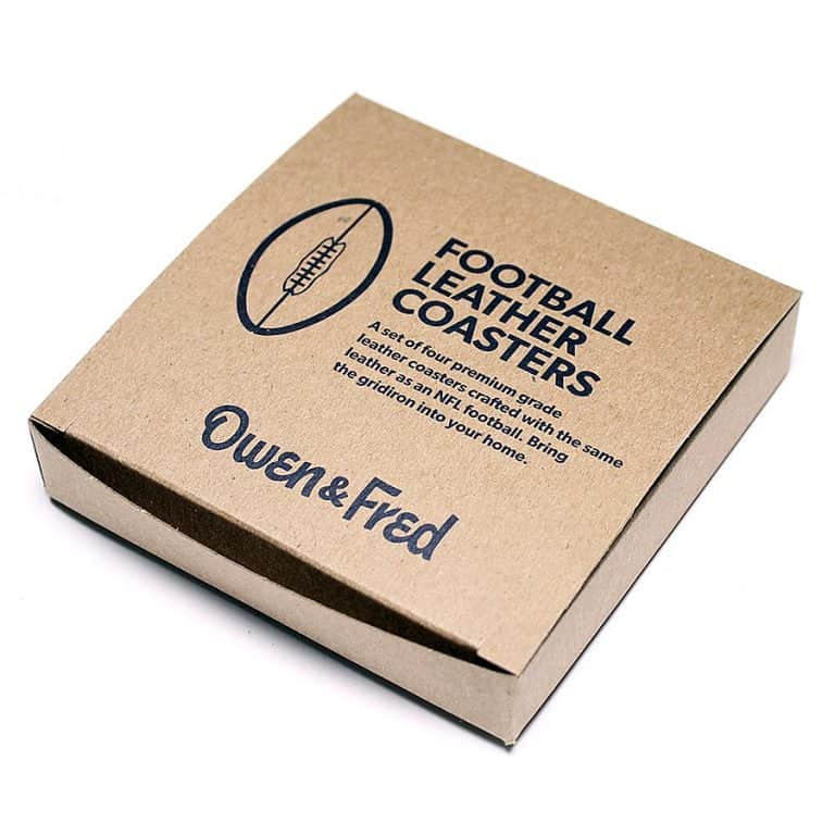 Owen & Fred NFL Football Leather Coasters Packaging