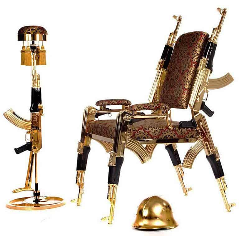 Rainier Weber Designs Gold-Plated AK47 Chair Home Furniture