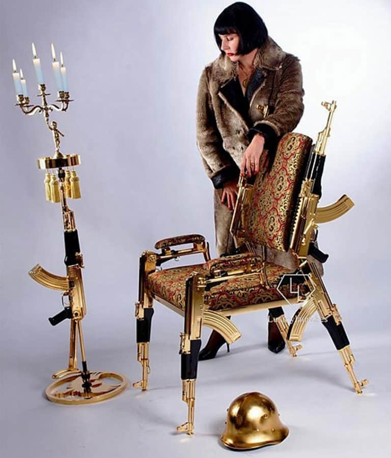 Rainier Weber Designs Gold-Plated AK47 Chair Leisure Product