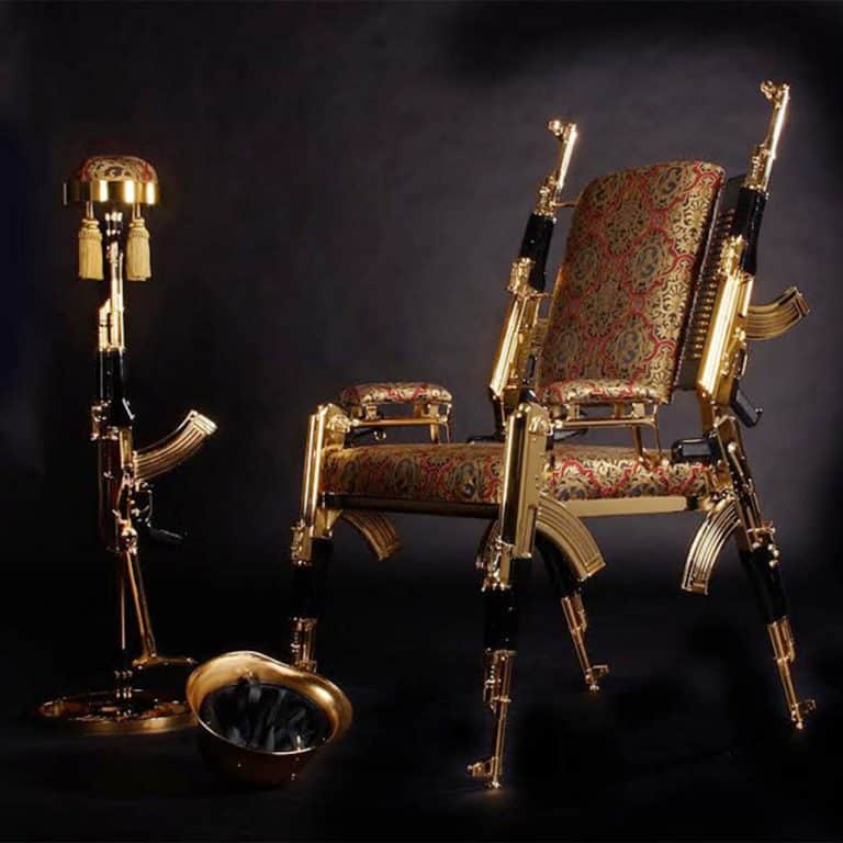 Rainier Weber Designs Gold-Plated AK47 Chair Rifles