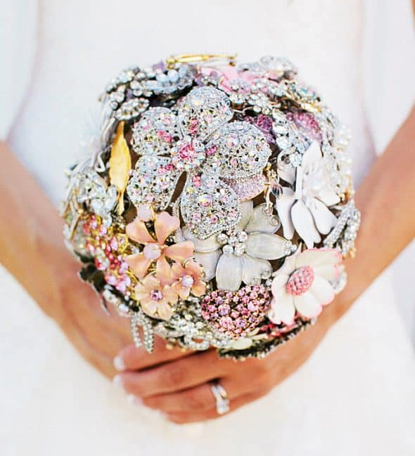 The Ritzy Rose Brooch Handcrafted Bouquet Wedding Glittering Flowers