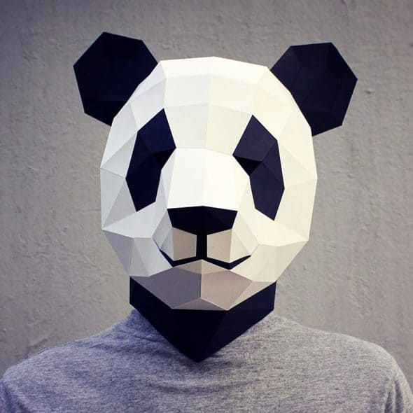 Waste Paper Head DIY Paper Panda Mask Costume