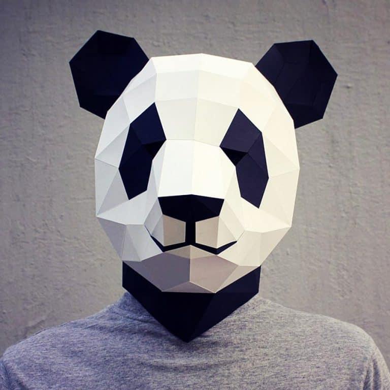 Waste Paper Head DIY Paper Panda Mask Costume