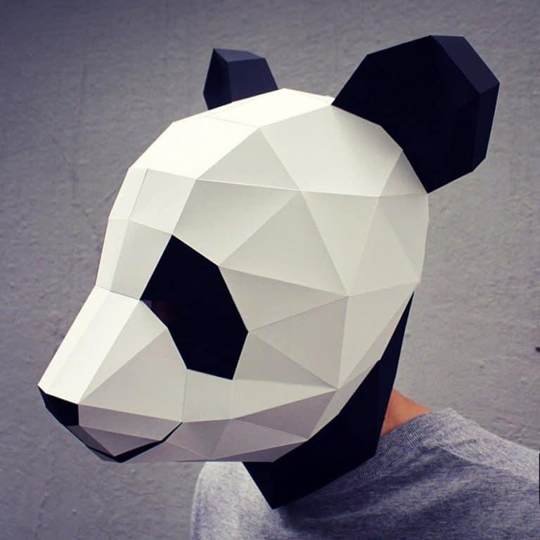 Waste Paper Head DIY Paper Panda Mask Headgear