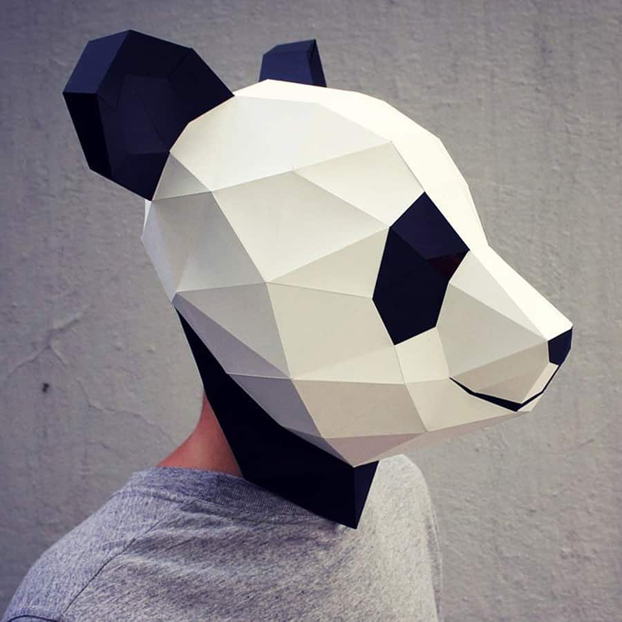 Waste paper head diy paper panda mask noveltystreet the printable pdf template has the design perfectly mapped out for you so all you need to do is print cut glue and wear its just that easy maxwellsz