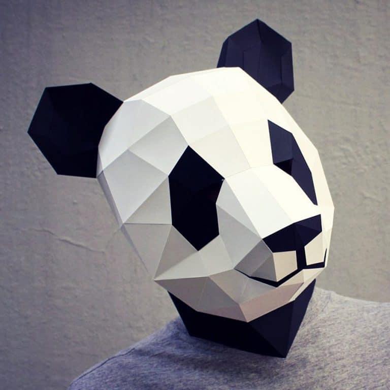Waste Paper Head DIY Paper Panda Mask Papercraft