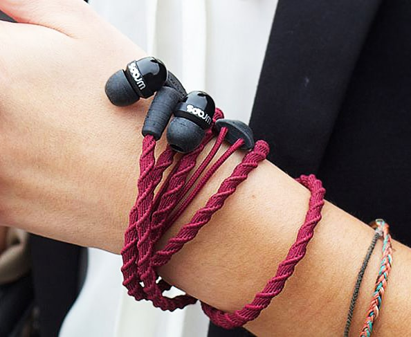 Wraps Wearable Braided Wristband Headphone Bracelet Maroon