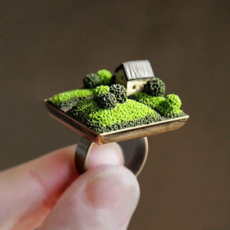 Aleks Polymer Home Ring Miniature House