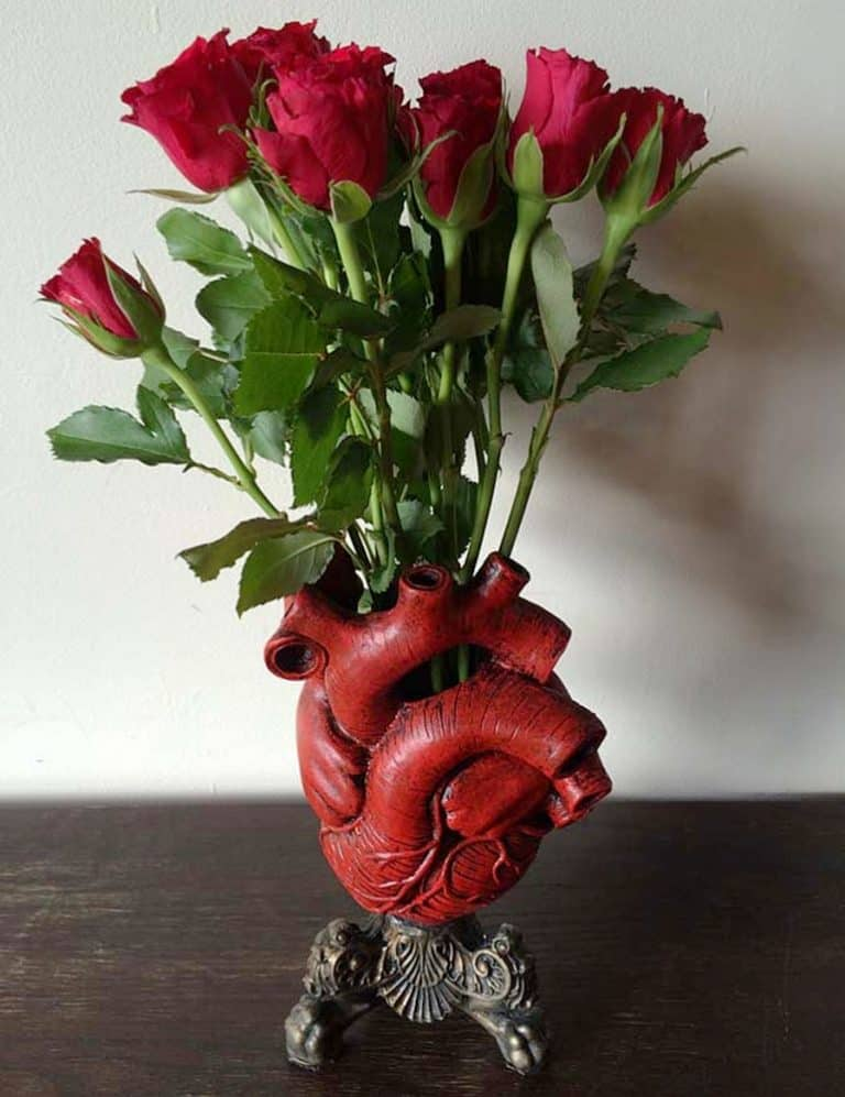 Dellamorteco Anatomical Heart Vase Hand Painted
