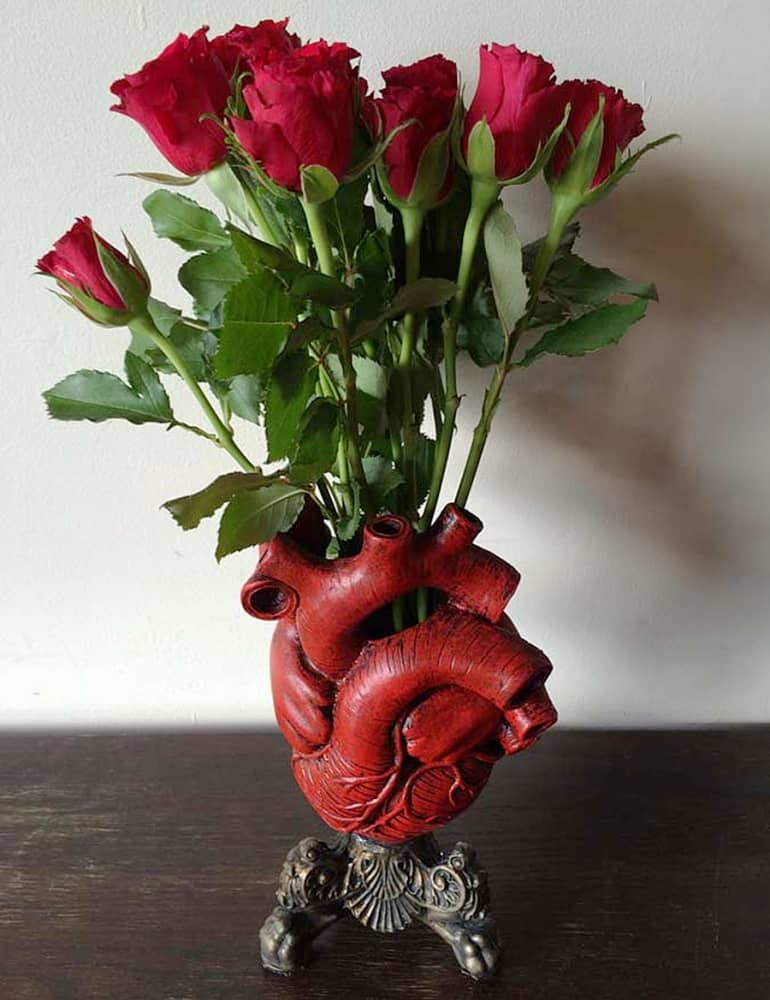 Dellamorteco Anatomical Heart Vase Hand Painted