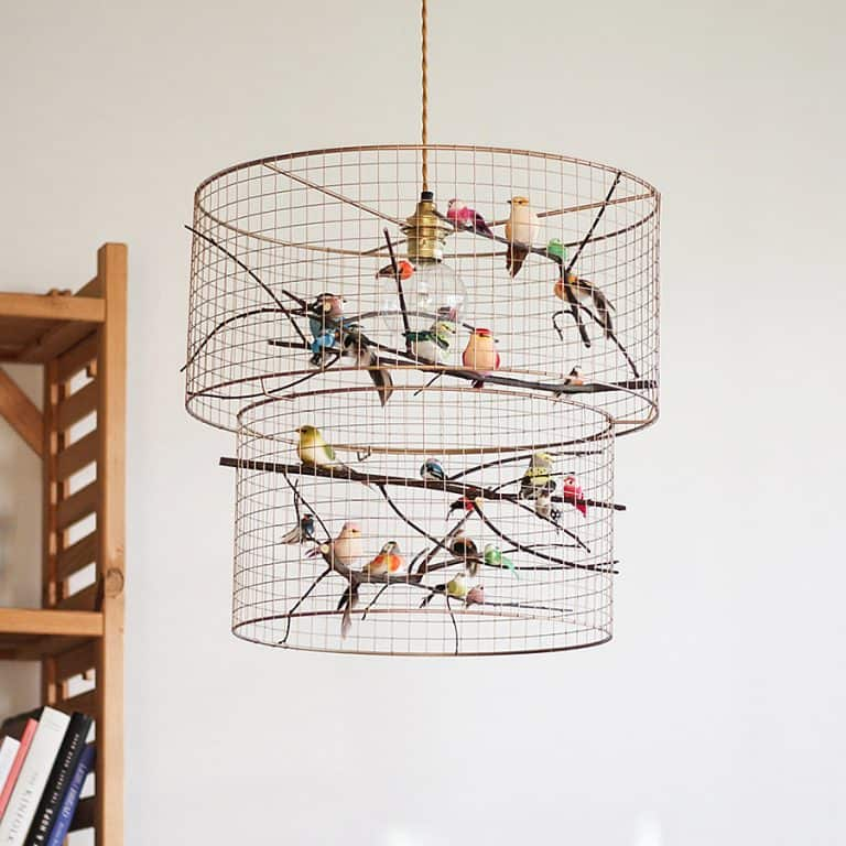 Kekoni Copper Double Birdcage Pendant Light Chandelier Handmade Products