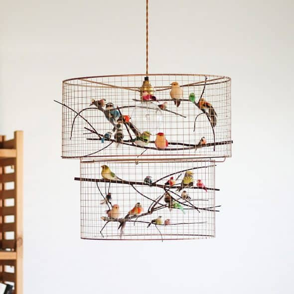 Kekoni copper double birdcage pendant light chandelier noveltystreet this chandelier is so fly aloadofball Gallery