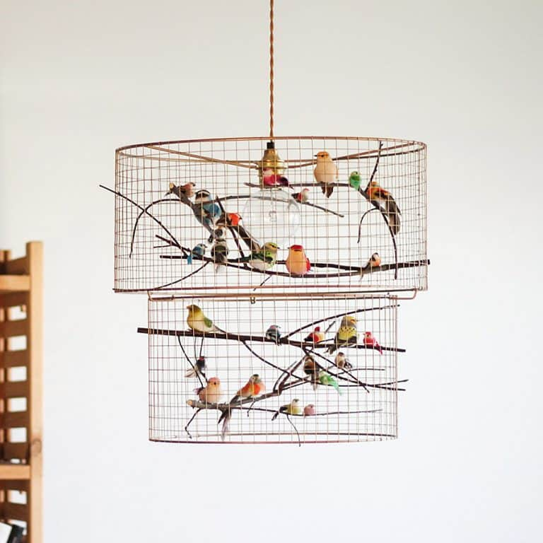 Kekoni Copper Double Birdcage Pendant Light Chandelier Lighting