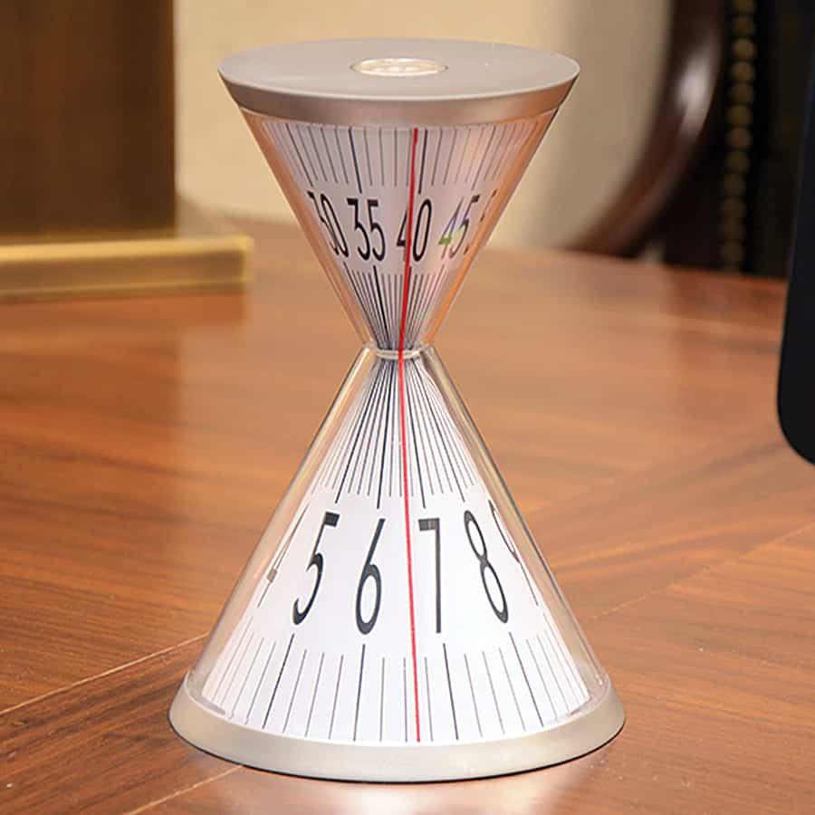 Time inside an hour glass.
