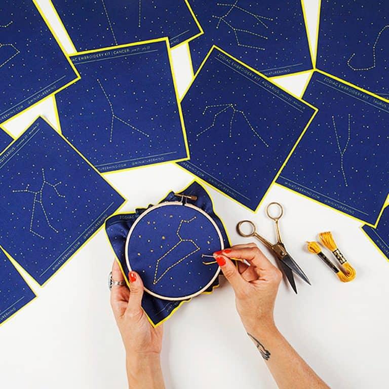 Miniature Rhino Zodiac Embroidery Kit Stitches
