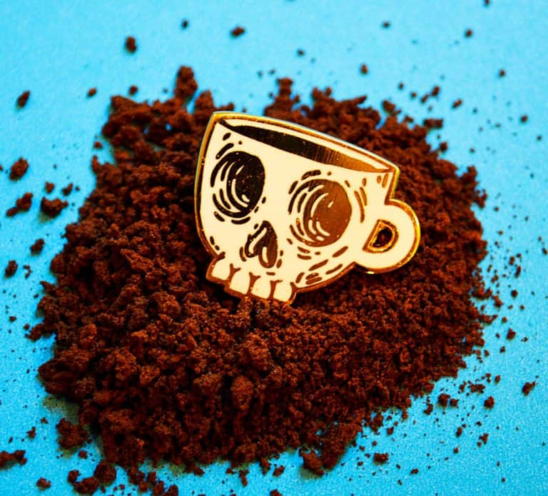 Mutant Pins Coffee Skull Enamel Pin Gold Hipster Accessory