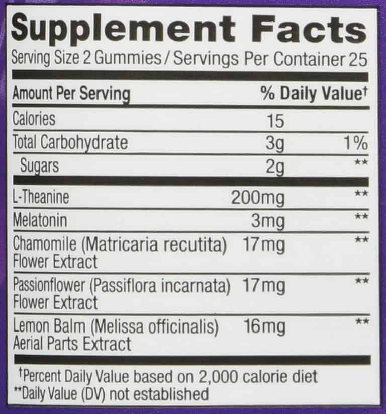 OLLY Restful Sleep Gummy Supplements Nutrition Facts