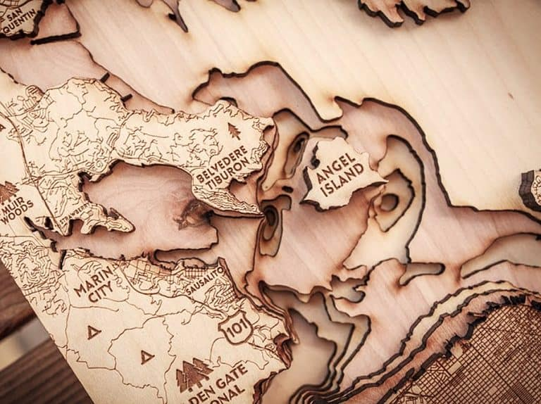 Origin Artwork San Francisco Wood Map 3D Carved