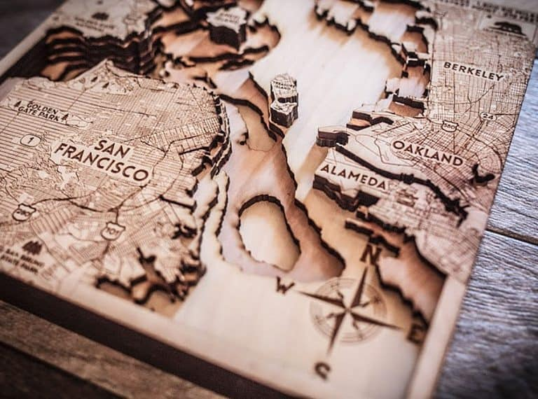 Origin Artwork San Francisco Wood Map Handcrafted