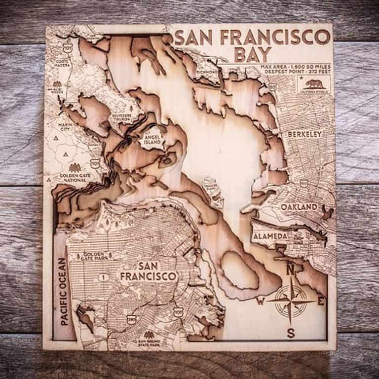 Origin Artwork San Francisco Wood Map Made from Birch Wood