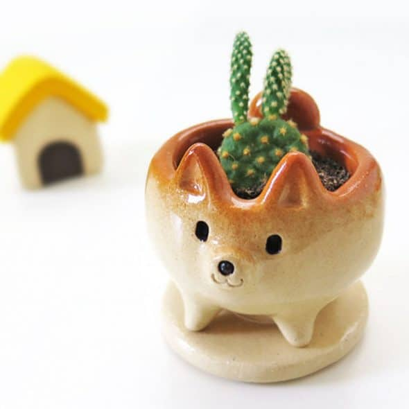 Siros Funny Animals Shiba Inu Shaped Cactus Pot Tabletop Decoration