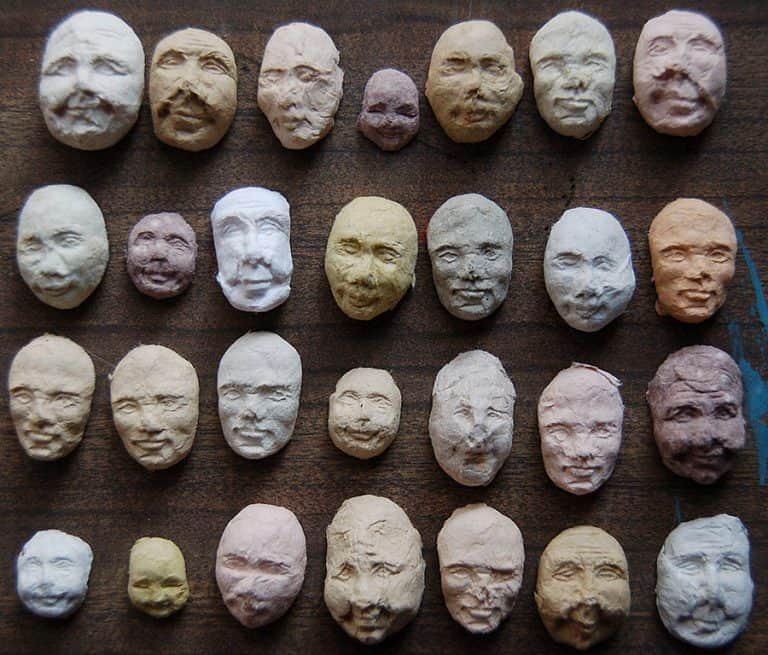 Sustainable Papercraft 50 Sprouting Seed Faces Recycled Paper Pulp