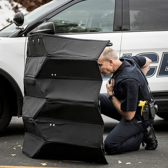 Origami bullet-proof barrier.