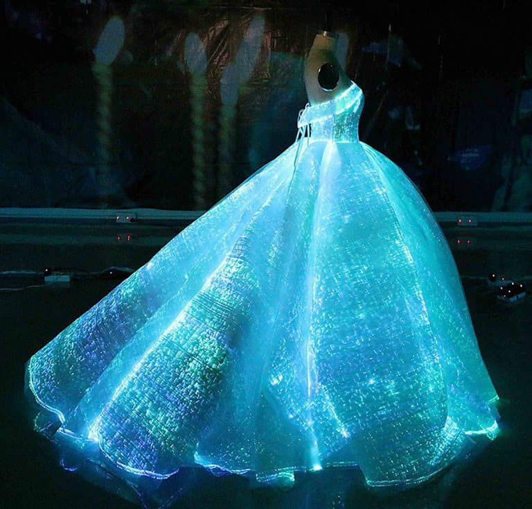 Fiber Optic Fabric Clothing Luminous Fiber Optic Wedding Dress Illuminated Clothes
