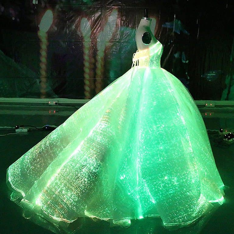 Fiber Optic Fabric Clothing Luminous Fiber Optic Wedding Dress Light Emitting Fabric