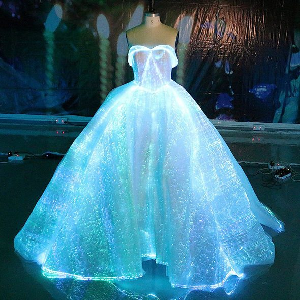 Fiber Optic Fabric Clothing Luminous Fiber Optic Wedding Dress Ultra Thin Optical Fibers