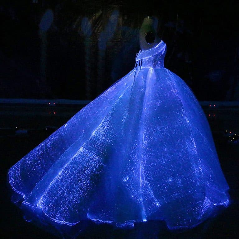 Fiber Optic Fabric Clothing Luminous Fiber Optic Wedding Dress Women Clothes