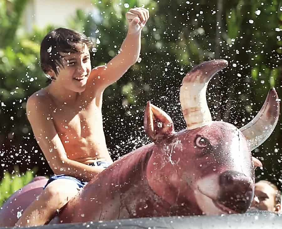 Experience water bull riding at its finest.